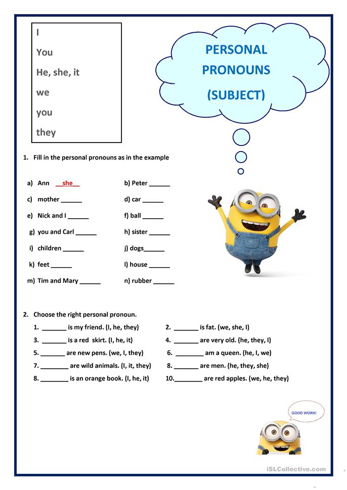 Personal Pronouns - Subject worksheet - Free ESL printable ...