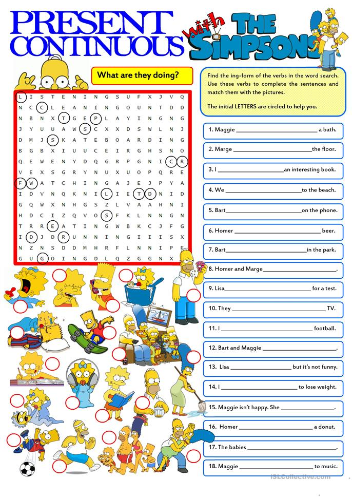 PRESENT CONTINUOUS with the Simpsons worksheet - Free ESL ...