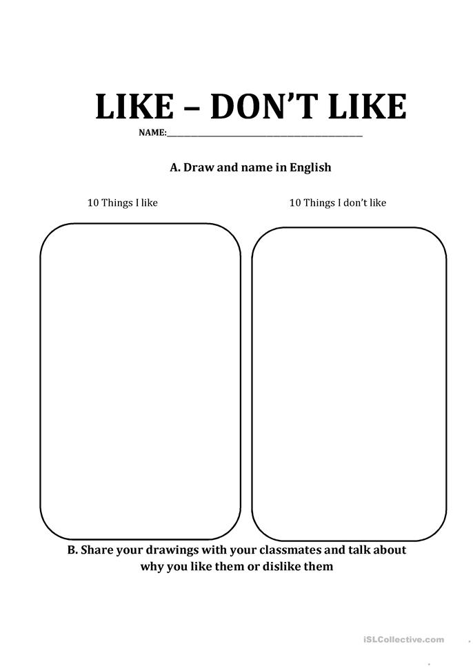 things i like things i don 39 t like worksheet free esl printable worksheets made by teachers. Black Bedroom Furniture Sets. Home Design Ideas