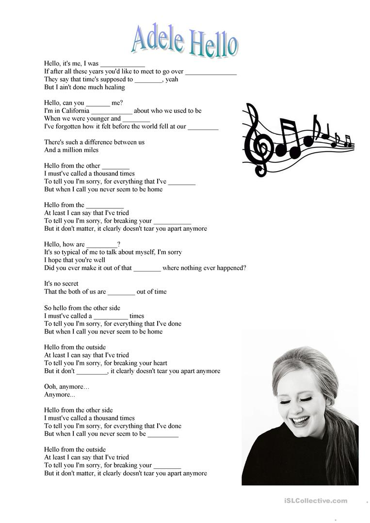 Adele Hello song - English ESL Worksheets