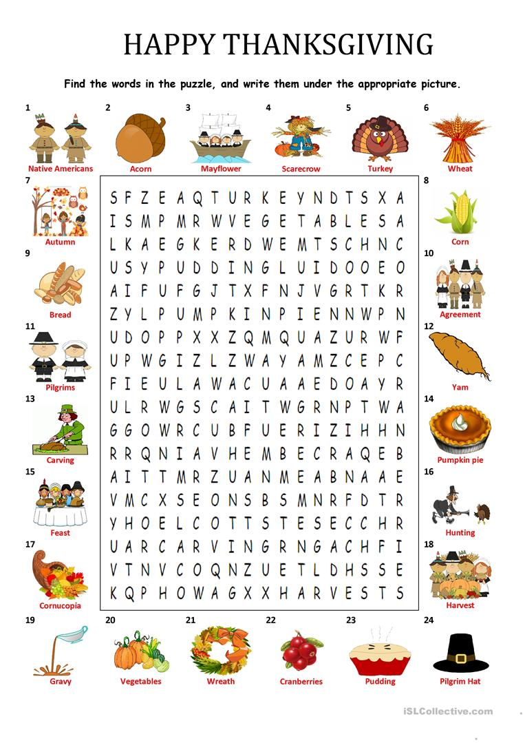 HAPPY THANKSGIVING - WORDSEARCH PUZZLE worksheet - Free ...