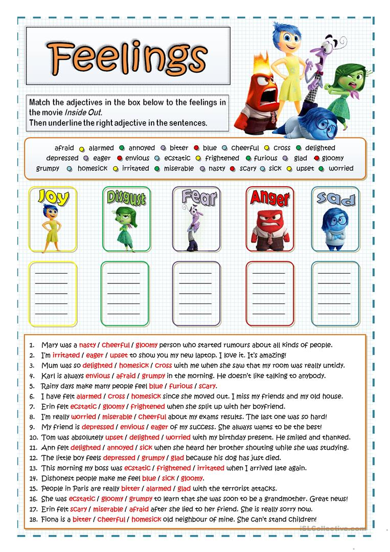 INSIDE OUT FEELINGS AND EMOTIONS worksheet Free ESL printable – Feelings and Emotions Worksheets