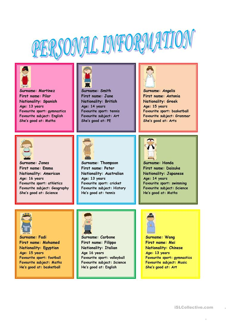 Personal information (speaking cards) worksheet - Free ESL printable