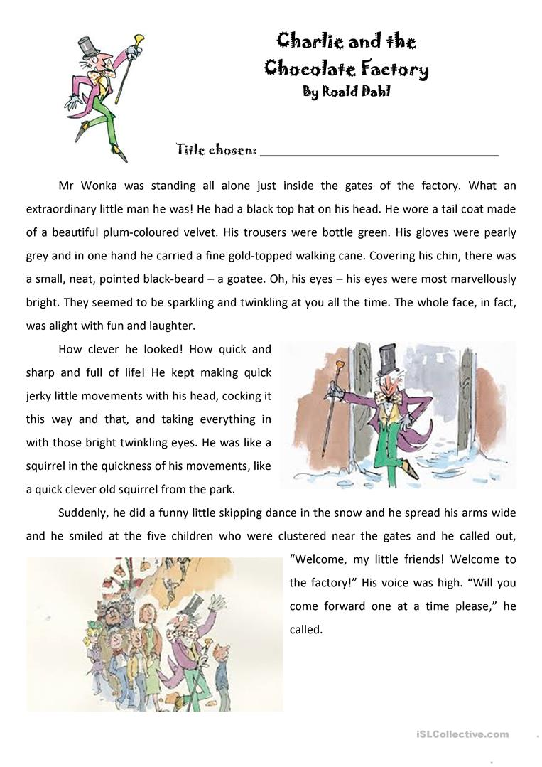 esl charlie and the chocolate factory worksheets roald dahl charlie and the chocolate factory extract
