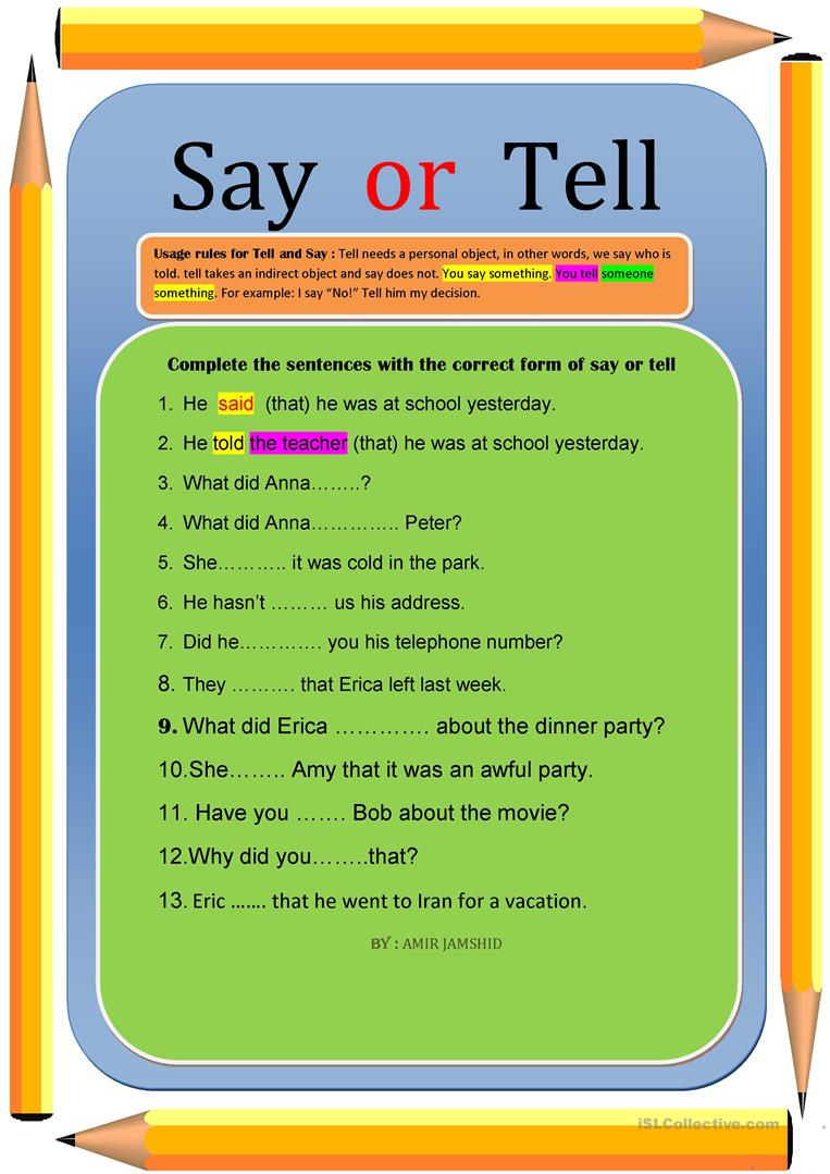 SAY OR TELL   English ESL Worksheets for distance learning and ...