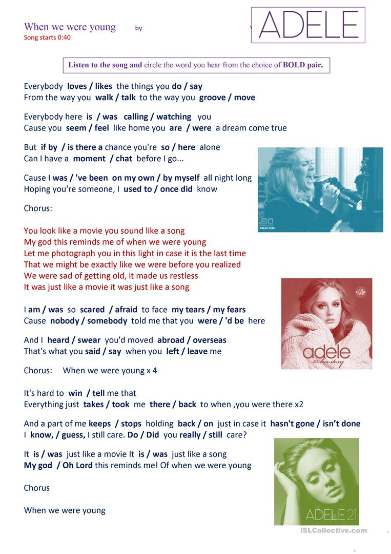 SONG 'When we were young' by ADELE worksheet - Free ESL printable ...