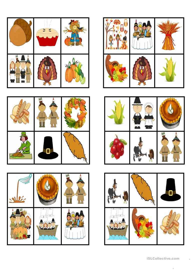 picture about Free Printable Thanksgiving Bingo known as THANKSGIVING - BINGO Playing cards - English ESL Worksheets