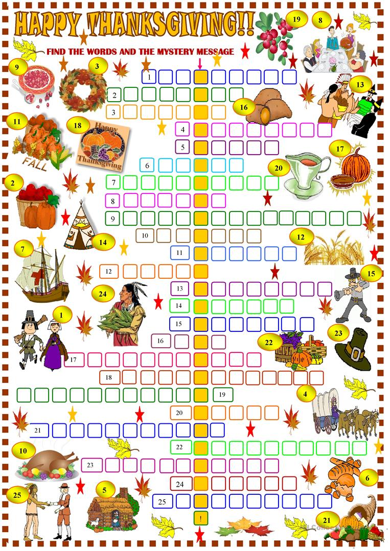 Thanksgiving Crossword Puzzle English Esl Worksheets For