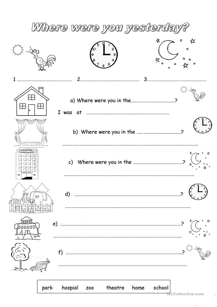 Where were you - English ESL Worksheets