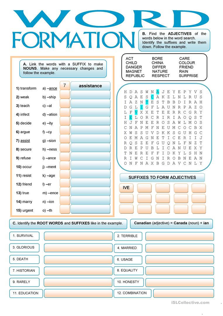 45 free esl suffixes worksheets word formation suffixes robcynllc Image collections