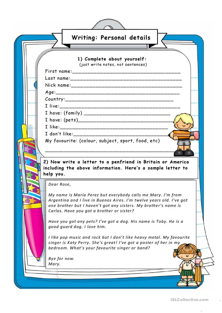 English Worksheets For Teachers : Writing giving personal information worksheet free esl