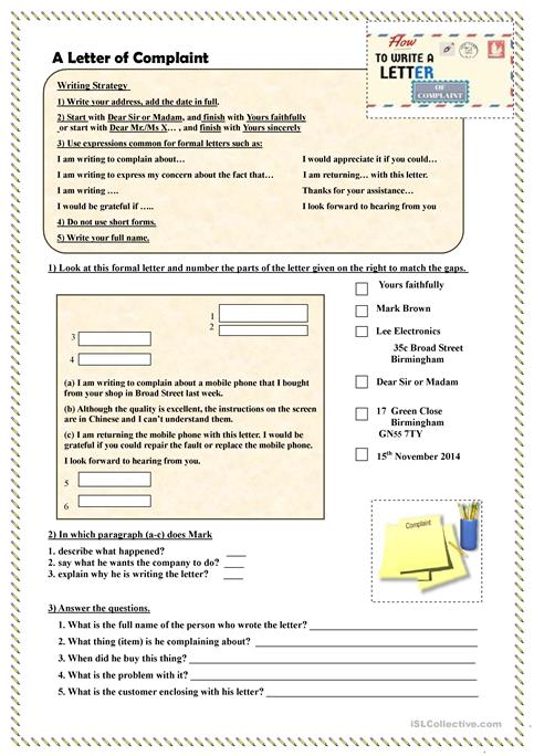 How to write a letter of complaint worksheet free esl printable how to write a letter of complaint expocarfo Gallery