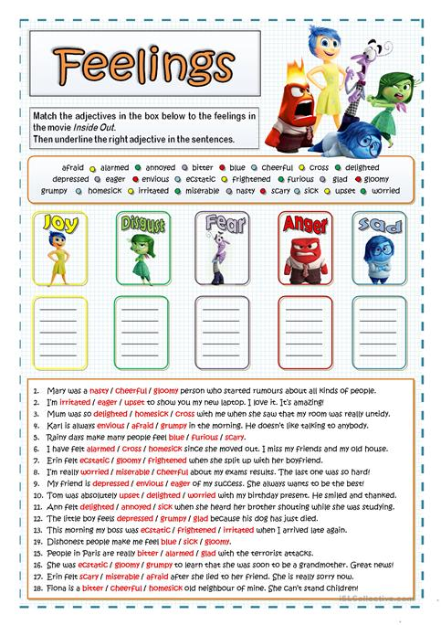 Inside Out Feelings And Emotions Worksheet Free Esl Printable