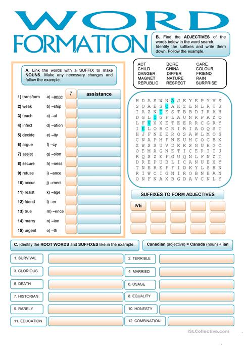 WORD FORMATION Suffixes Worksheet Free ESL Printable Worksheets - Word formation