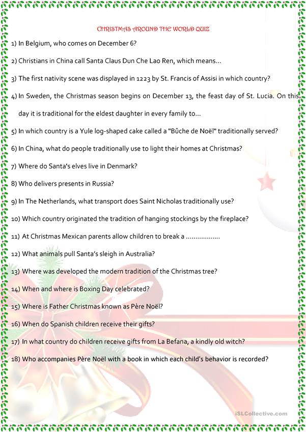 Christmas Around The World Worksheets.Christmas Around The World English Esl Worksheets