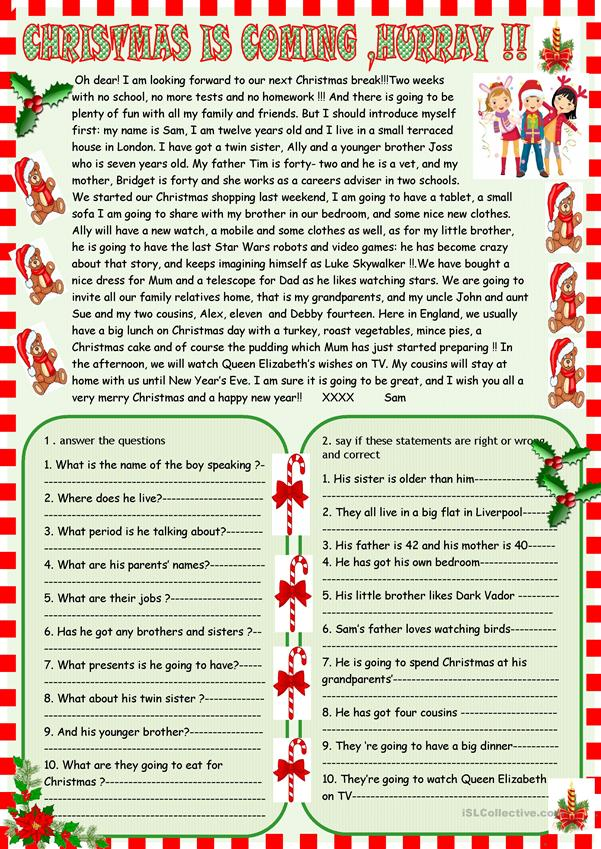 Christmas is coming : reading comprehension