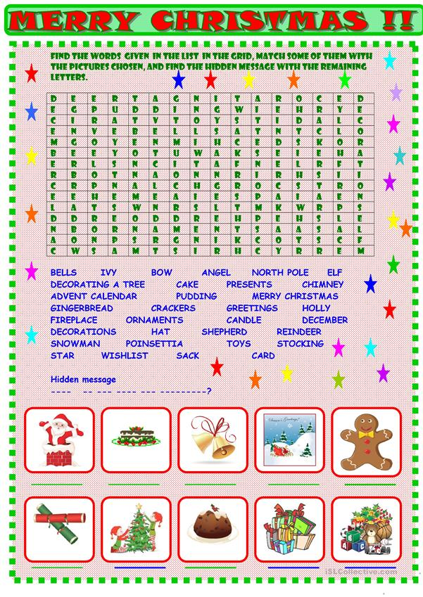 Christmas : wordsearch with a hidden message KEY included