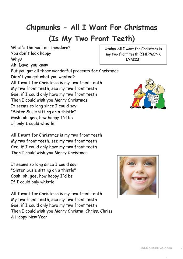 Fun Christmas Songs- All I want for Christmas is my two front teeth - Chipmonks