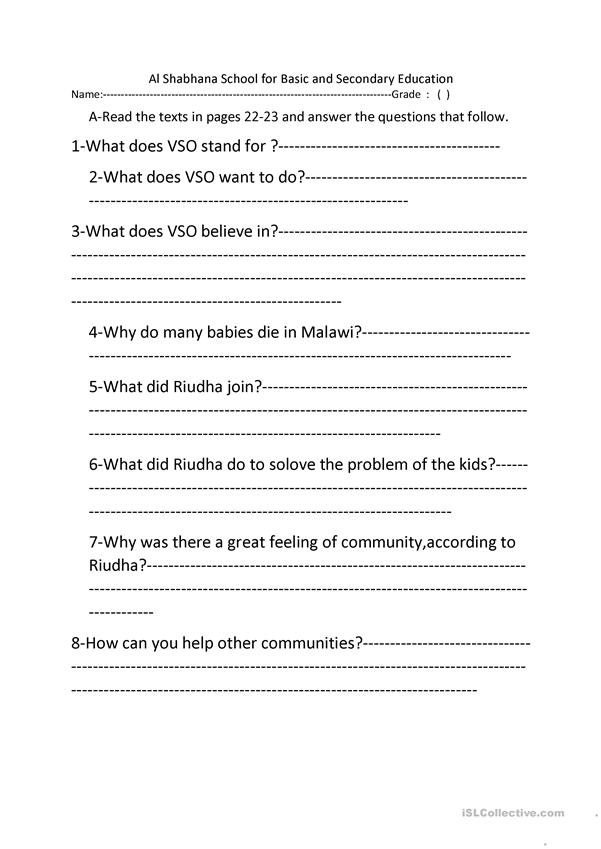 modified worksheets