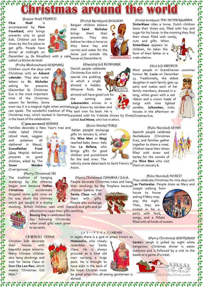 Christmas around the world worksheet - Free ESL printable ...