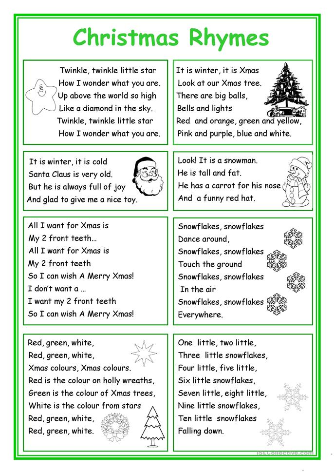 christmas rhymes worksheet free esl printable worksheets made by teachers. Black Bedroom Furniture Sets. Home Design Ideas
