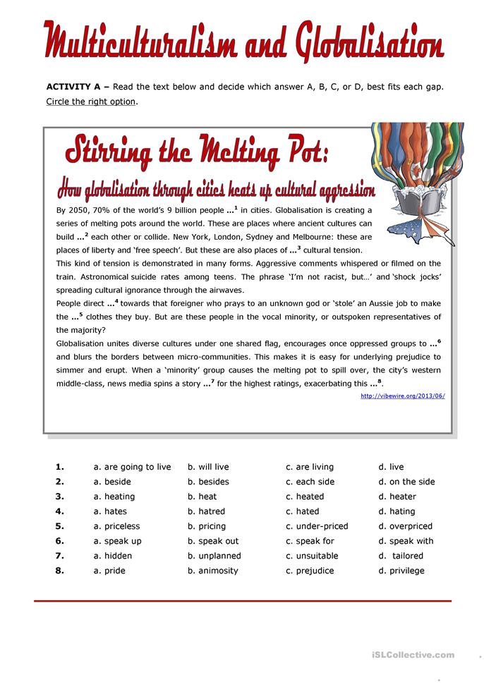 Printables Racism Worksheets multiculturalism and globalisation worksheet free esl printable worksheets made by teachers