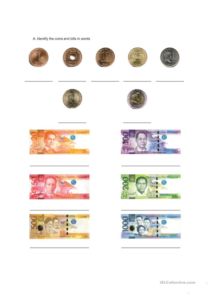 Worksheets For Grade 1 Philippine Money: Money vocabulary ...