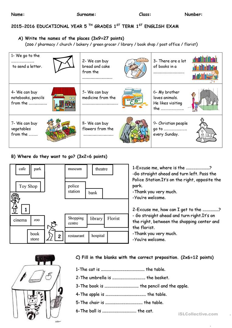 - Exam For 5th Grades - English ESL Worksheets For Distance Learning