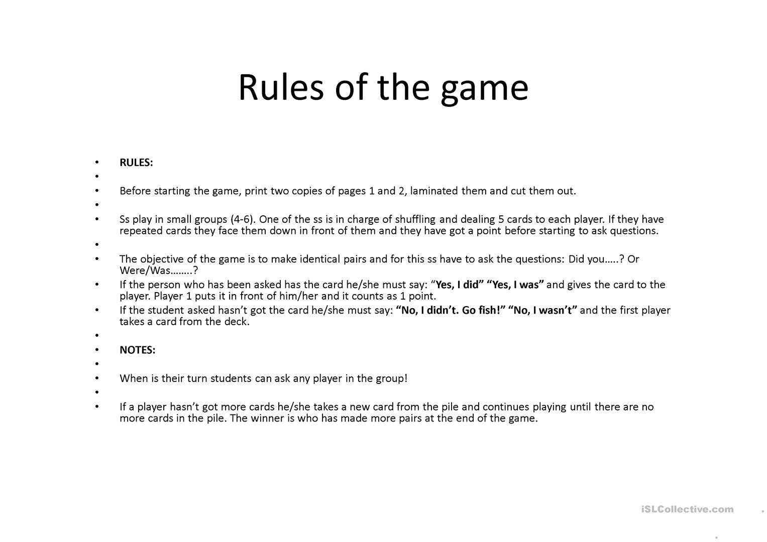 Go fish past simple worksheet free esl projectable for The rules of go fish