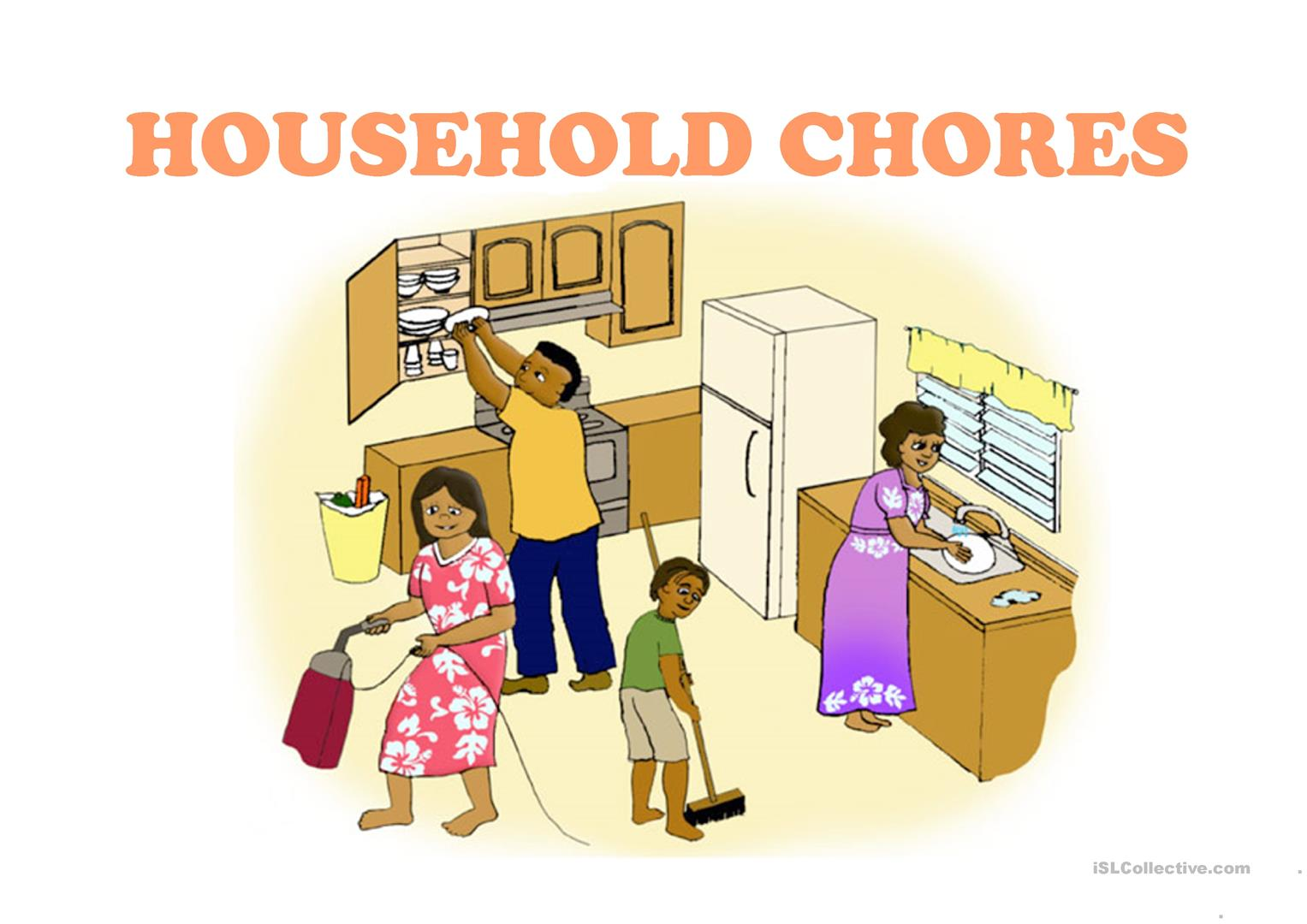 household chores worksheet free esl projectable worksheets made by