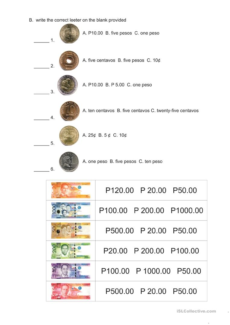 Philippine Money Worksheets : Philippine money worksheet free esl printable worksheets