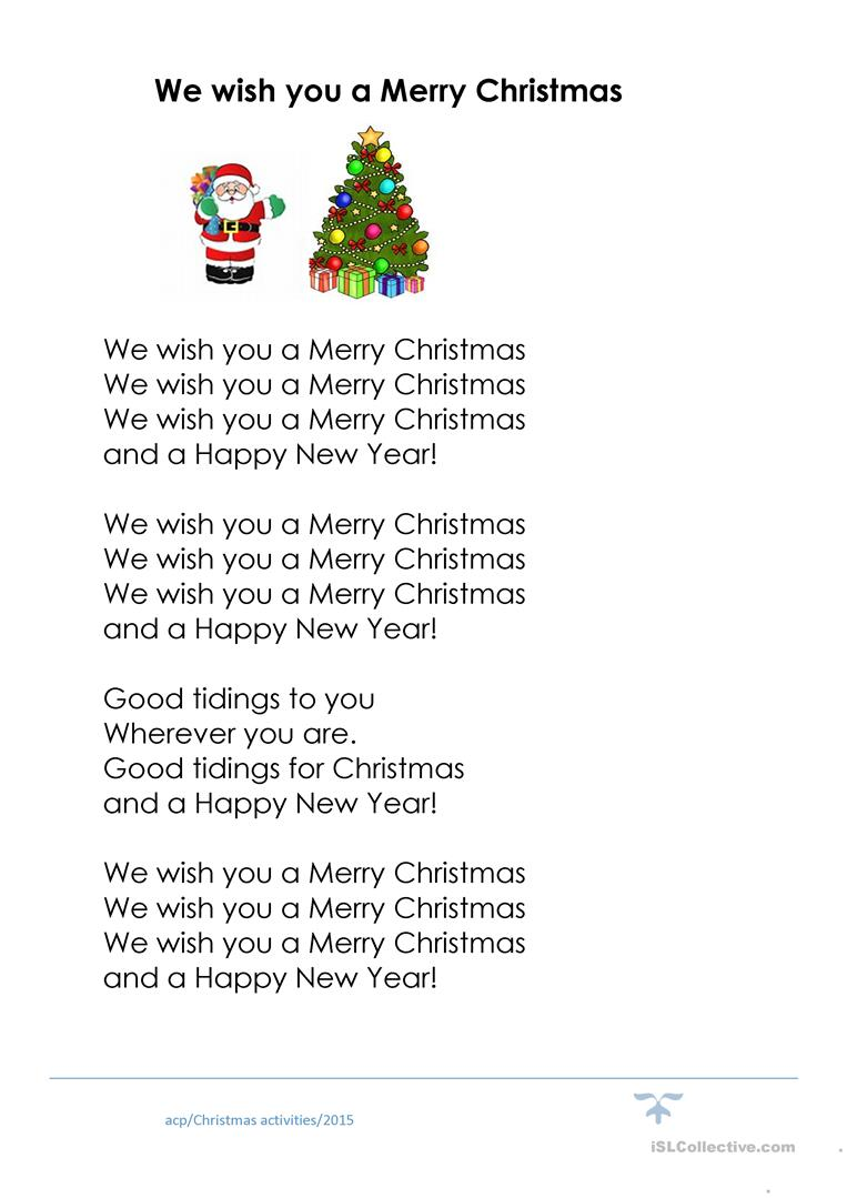 We Wish You A Merry Christmas Song.We Wish You A Merry Christmas Cloze English Esl Worksheets