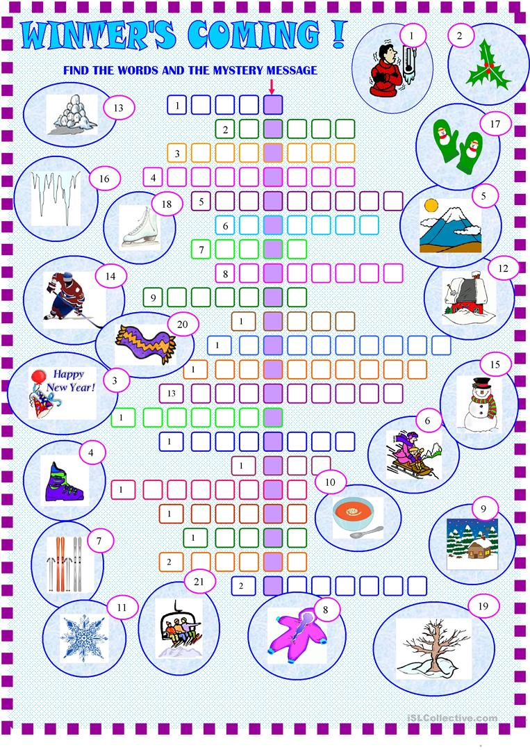 photograph regarding New Year Crossword Puzzle Printable titled Winter season : crossword puzzle with Secret - English ESL Worksheets