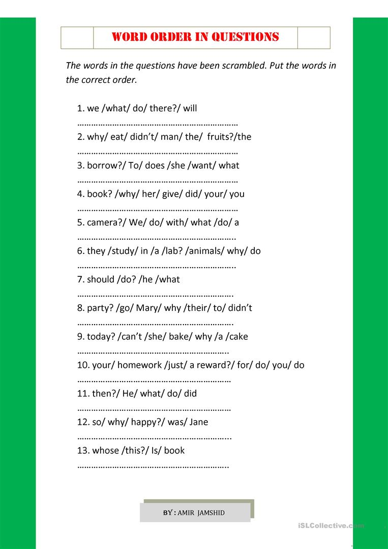 word order in questions - English ESL Worksheets