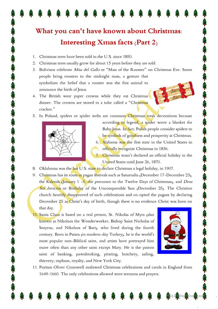 Xmas facts_reading tasks for B2 learners worksheet - Free ESL ...