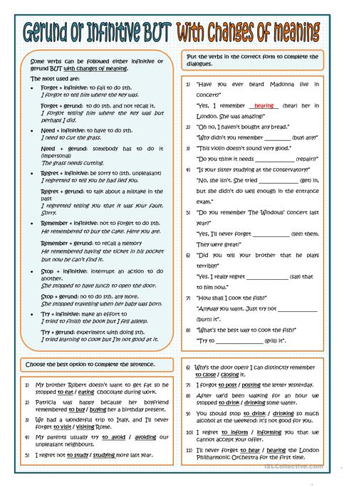 Gerund And Infinitive With Changes Of Meaning Worksheet Free Esl