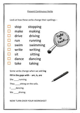 7 FREE ESL present continuous spelling worksheets