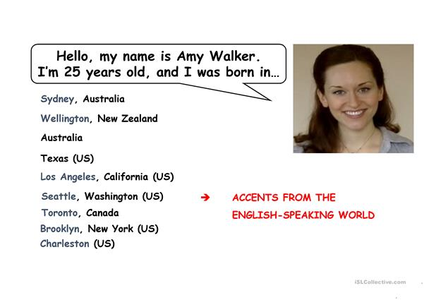 American and British accents (with some foreign accents)