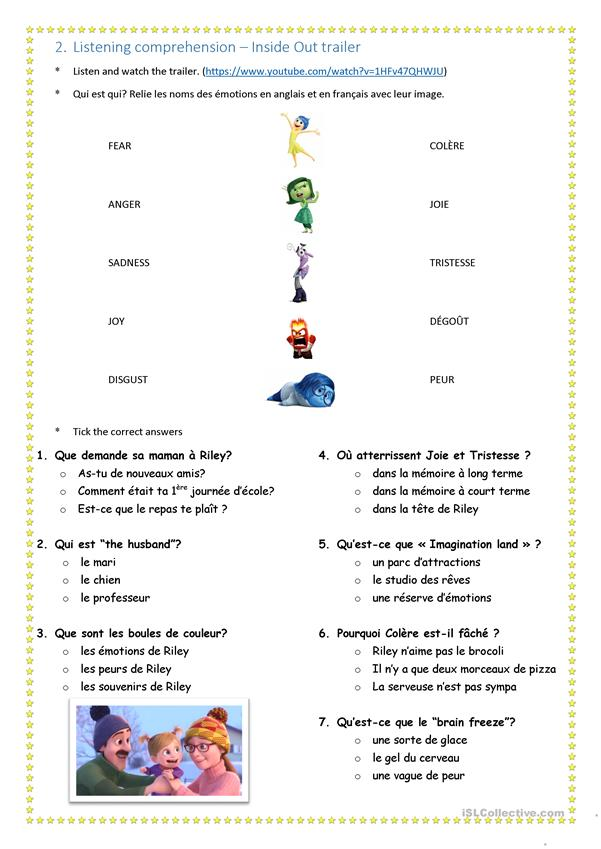 inside out - the feelings - English ESL Worksheets