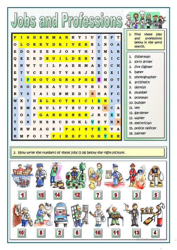 JOBS AND PROFESSIONS PUZZLES