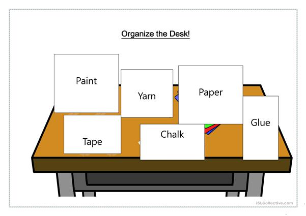 Organize the Desk - Art Supplies
