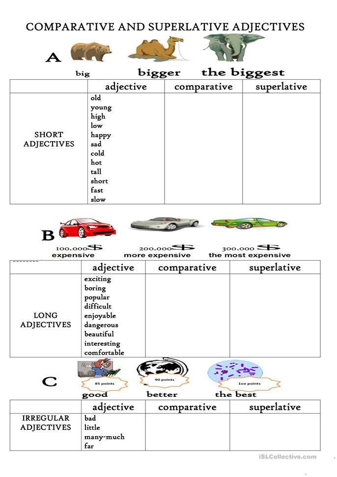 Comparative and superlative adjectives exercises pdf beginners
