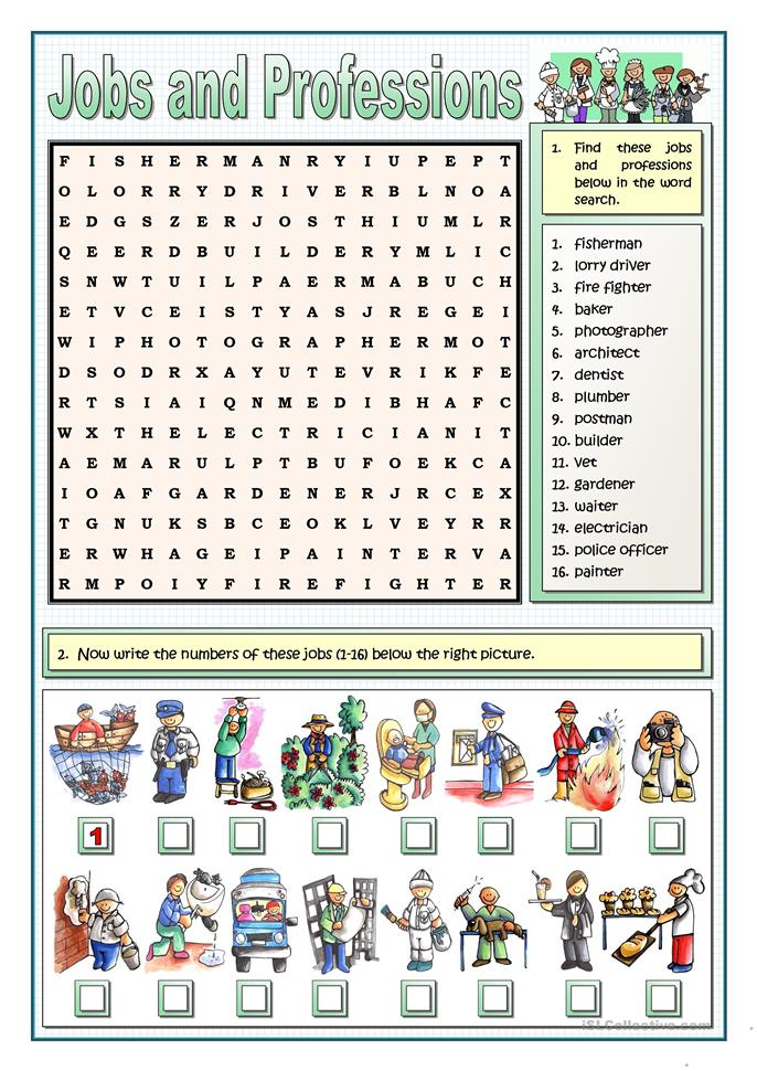 Jobs and professions worksheet free esl printable worksheets made by