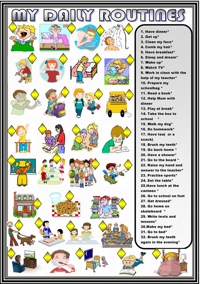 My Daily Routine Worksheets Esl - The Best and Most Comprehensive ...