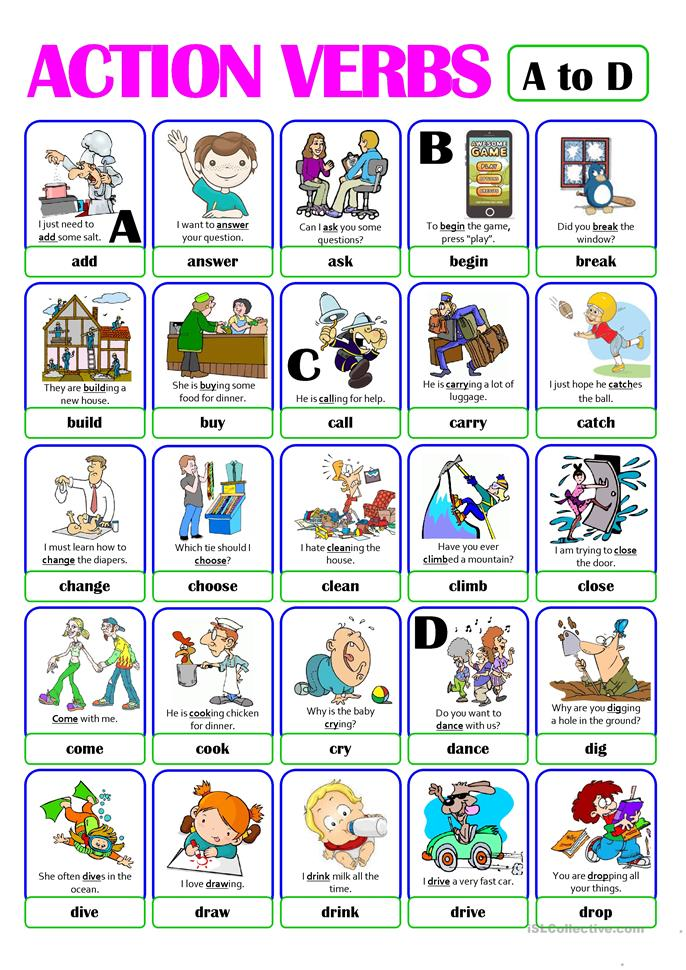 PICTIONARY - ACTION VERB SET (1) - from A to D worksheet ...