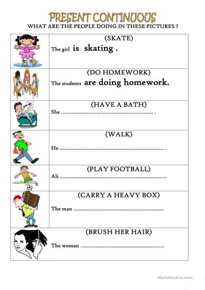present continuous tense affirmative - ESL worksheets