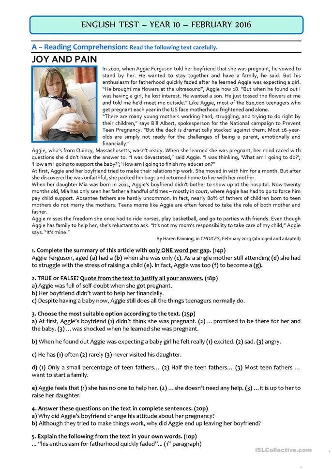 teaching plan for a teen mom essay If you have just learned that your teen is having a baby, you're probably experiencing a wide range of emotions, from shock and disappointment to grief and worry about the future some parents feel a sense of guilt, thinking that if only they'd done more to protect their child this wouldn't have happened.