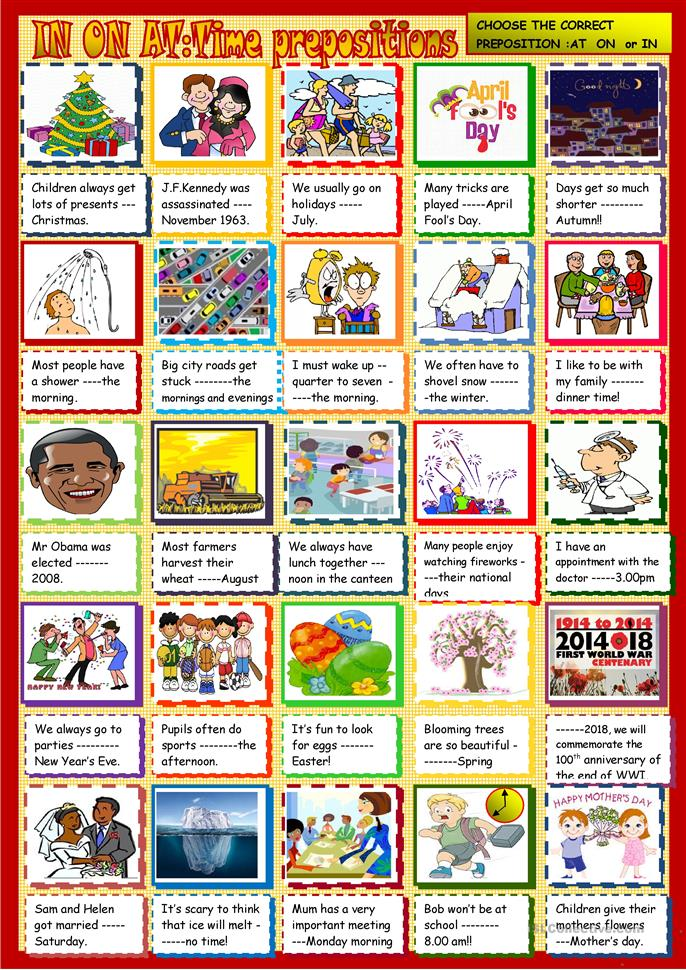 Time prepoitions AT ON IN - ESL worksheets
