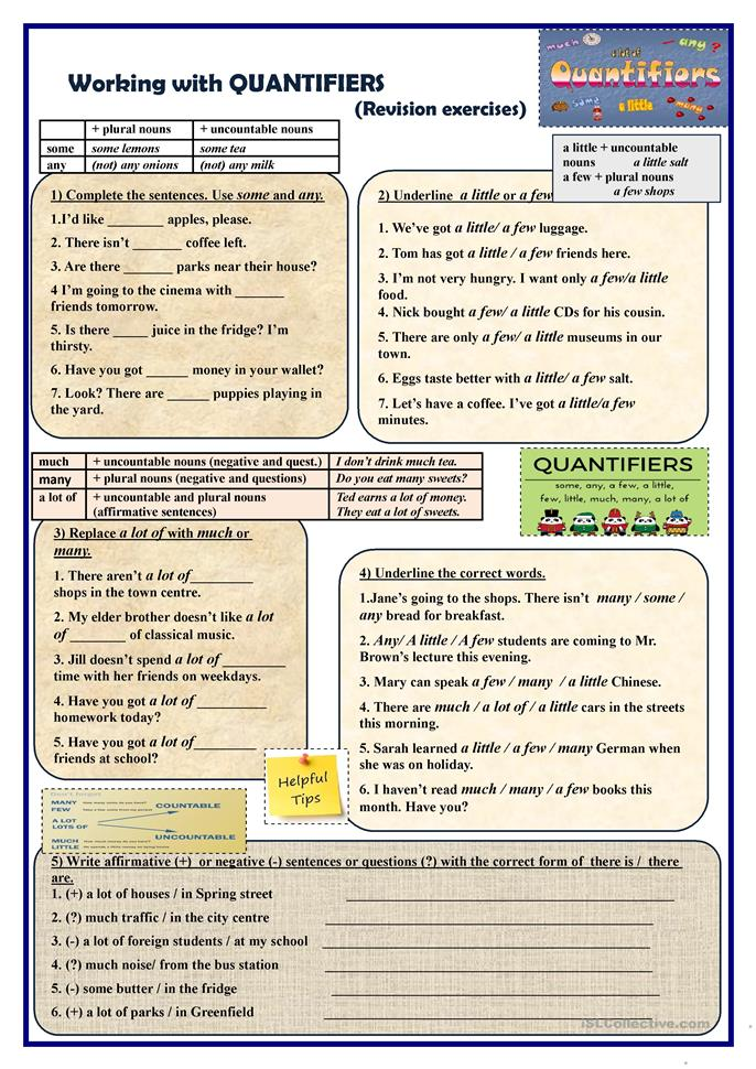 working with quantifiers revision exercises worksheet free esl printable worksheets made by. Black Bedroom Furniture Sets. Home Design Ideas