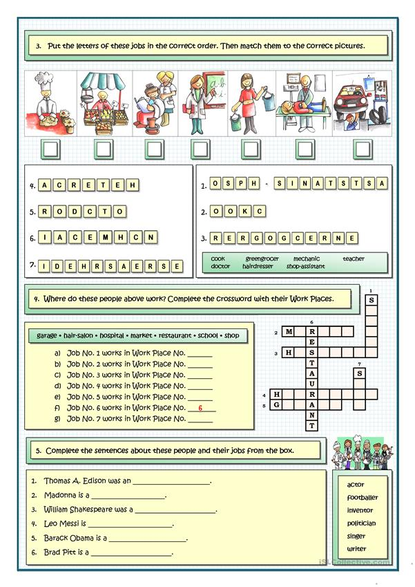 jobs and professions puzzles worksheet